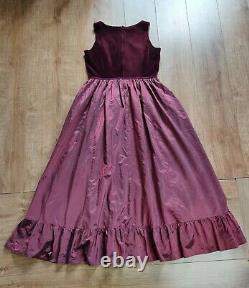 Vintage Victorian Laura Ashley Burgundy Silk Velvet Taffeta Prom Dress Size 14