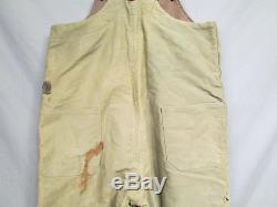 Vintage WWII US Navy Deck Pants Bib Overall USN Stencil Wool Lined Suspenders M