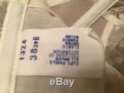 Vintage Warner White Lace Long Line Boned Bra 6 Hooks + Garter hooks #1324 38 B