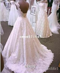 Vintage White/Ivory Lace A Line Wedding Dress Backless Sleeveless Bridal Gown