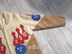 Vintage Women's Cowichan Hand Knitted Zip Lined Bowling Sweater Size M/L