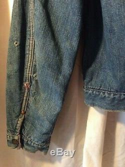 Vintage Womens Medium Classic Pleated Front Selvedge Blanket Lined Denim Jacket
