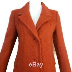 Vintage Womens Mohair Wool Long Dress Trench Coat USA Dark Orange Sz S 4 6