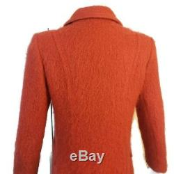 Vintage Womens Mohair Wool Long Dress Trench Coat USA Dark Orange Sz S 4 6