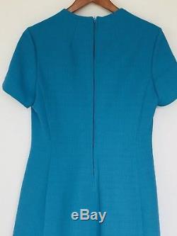 Vintage Womens Suit Turquoise Long Line Coat A Line Dress 40s 50s Jacket A947