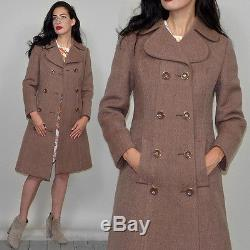 Vintage Wool A-Line Tent Scooter Breasted Military Coat Princess 60s Mod Audrey