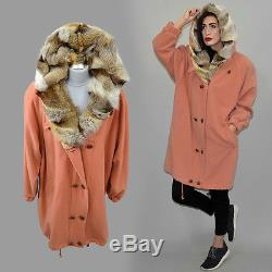 Vintage Wool Cocoon Coat REAL Fox Fur Lined Hooded Anorak Cowl Cape Parka L 80s