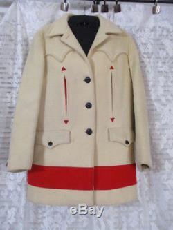 Vintage Wool Hudson Bay Satin Lined Western Cowboy Cut Fitted Coat Blazer RARE