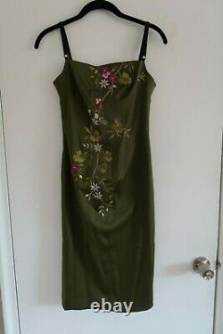 Vintage Y2K Mandalay Embroidered Satin Floral Dress 2 ASO Rachel Green Friends