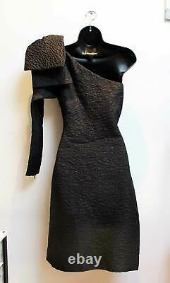 Vintage Yves Saint Laurent Bow Dress Size 40 / M Quilted Wool Silk Black