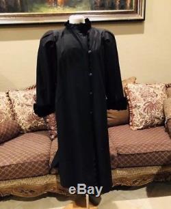 Vintage Yves Saint Laurent Rive Gauche Black Coat Fur Lined Interior Sz 38