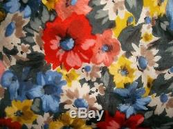 Vintage hand made pencil wiggle dress flower print silk part lined 12