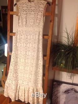 Vintage richilene lace knit lined maxi dress creme ivory sz medium m sleeveless