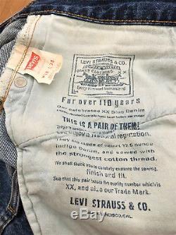 Vintage1990's Original LEVIS Big E 501 W35 L33 Denim Red Line 555 Selvedge Jeans