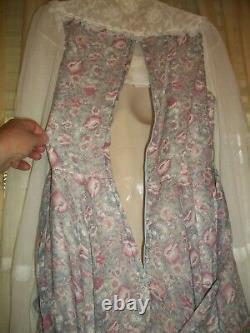 Vntg Gunne Sax Soft Dusty Purple Floral Prairie Boho Maxi Dress17' Sweep Hem13