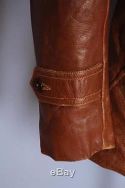 Vtg 1930s HORSEHIDE Leather Sports Car Coat Jacket Sheepskin Lined S/M