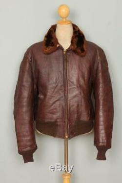 Vtg 1940s HORSEHIDE Flight Sports Leather Jacket Sheepskin Lined XLarge