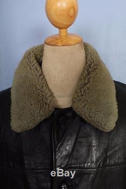 Vtg 1940s HORSEHIDE Leather Barnstormer Car Coat Sheepskin Lined L/XL