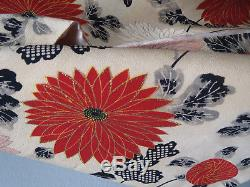 Vtg 1940s Silk Brocade Kimono Gold Thread Embroidered Blossoms Silk Lined Ex/Con