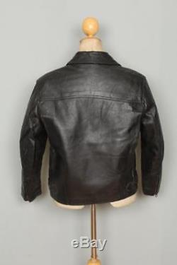Vtg 1950s Black Leather Sports Motorcycle Jacket Fleece Lined Small