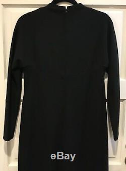 Vtg 1950s Pauline Trigere Black Dress Long Sleeve Lined Midi Nan Duskin No Size