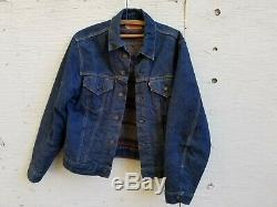 Vtg 1960's Levi's Big E Troy Blanket Lined Denim Trucker Jacket DARK USA Size 40