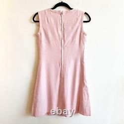 Vtg 1960s Anne Fogarty Pink Linen Sleeveless Fit and Flare A Line Dress Small