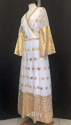 Vtg 1960s Bollywood Style Indian Ivory & Gold Banarasi Border Saree Sari Dress L