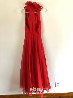 Vtg 1960s COCO California Red Polka Dot Maxi Dress Lined Size 6 Halter Ruffle