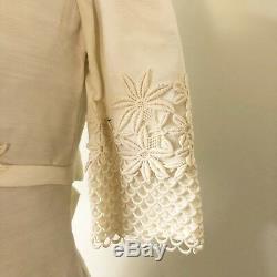 Vtg 1960s Womens Bridal Dress White Maxi Floral Lace A-line Short Sleeve Size S