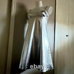 Vtg 1965 Corky Craig Space Age Liquid Silver Lame Trench Coat A-Line Mini Dress