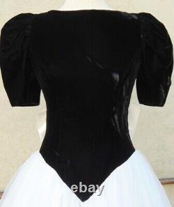 Vtg 1980's Velvet Tulle Peek a Boo Back With Bow Full Prom Party Ball Gown Dress