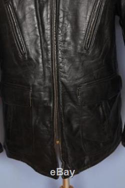 Vtg 40s Tru-T-Form HORSEHIDE Leather Half Belt Jacket Sheepskin Lined 46