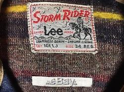 Vtg 50s / 60's LEE Storm Rider 101-LJ Lined Denim Jacket Union Made Sz 34 R
