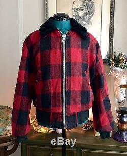 Vtg 50s Red BUFFALO Plaid Hunting Jacket Coat Faux Fur Lined Zip Sz L/XL Retro