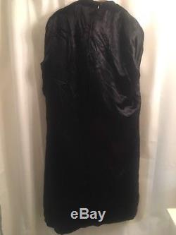 Vtg 60 FOX Soft HUGE Fur COLLAR Military WOOL Black Lined Jacket Cape COAT M L