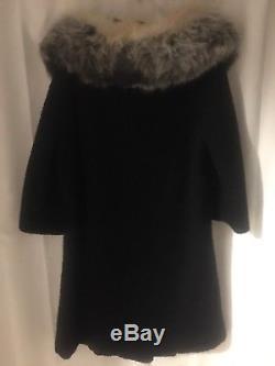 Vtg 60 FOX Soft HUGE Fur COLLAR Stroller WOOL Black Lined Jacket Cape COAT S M