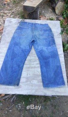 Vtg 60s 70s Indigo BLUE denim donut rivet red YELLOW LINE jeans barn find 39 29
