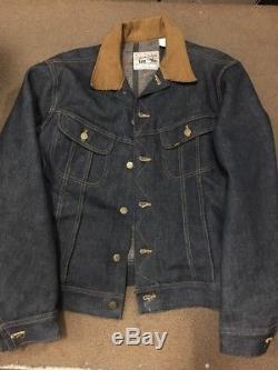 Vtg 60s 70s Lee Storm Rider Blue Jean Jacket Mens 42 Blanket Lined 2 Pocket Coat