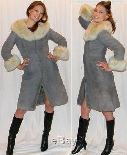 Vtg 60s 70s WARM sheepskin lined leather suede fur princess coat jacket grey MOD