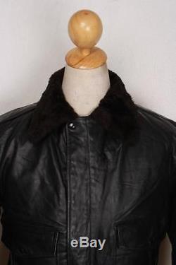 Vtg 60s BRIMACO Black Leather Flight Motorcycle Jacket Fleece Lined Medium