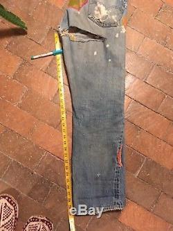 Vtg 60s Levis Selvedge Red Line V-Stitch Big E Denim Jeans 501 34x30 70s Patches