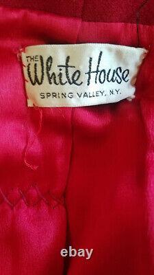 Vtg 60s Mod Red Wool Twiggy A Line Structured MINK Trim Winter Dress Coat M
