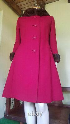 Vtg 60s Mod Red Wool Twiggy A Line Structured MINK Trim Winter Dress Coat S/M