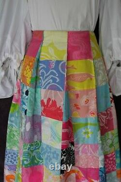 Vtg 60s The Lilly Pulitzer maxi long dress skirt patchwork resort Hawaiian S