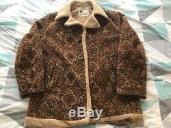 Vtg 70S LAKELAND TAPESTRY SHERPA LINED Groovy Hippie Psychedelic JACKET MENS 40