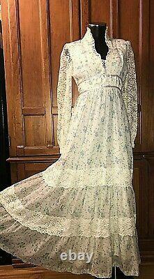 Vtg 70s Floral Calico print Voile Lace Hippie BoHo Prairie Wedding maxi DRESS