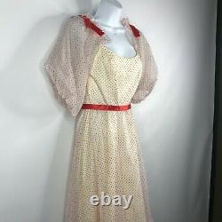 Vtg 70s Lorrie Deb White Red Swiss Dot Taffeta Puff Sleeve Prom Party Dress Sz 3