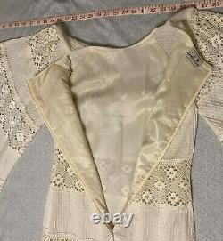 Vtg 70s Mexican Hippie Wedding Dress Cotton Crochet Fully Lined Angel Sleeve Sz8