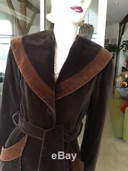 Vtg 70s RARE. Princess A Line Brown Velvet Coat Dress Aristos Of Carnaby St XS/S